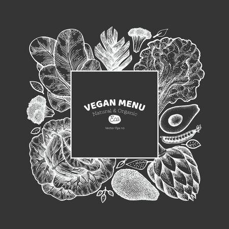 Green vegetable design template. Hand drawn vector food illustration on chalk board. Engraved style vegetable banner. Vintage botanical design. Çizim