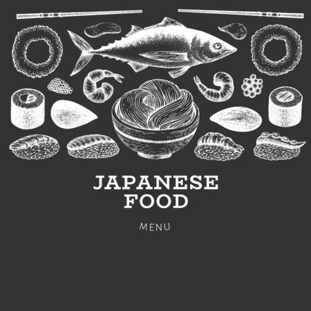Japanese cuisine design template. Sushi hand drawn vector illustration on chalk board. Vintage style asian food background. 写真素材 - 132926168