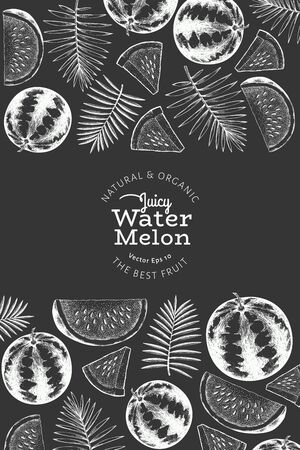 Watermelon and tropical leaves design template. Hand drawn vector exotic fruit illustration on chalk board. Engraved style vintage botanical banner.