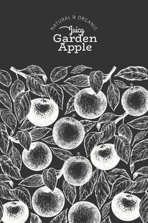 Apple branch design template. Hand drawn vector garden fruit illustration on chalk board. Engraved style fruit vintage botanical banner.
