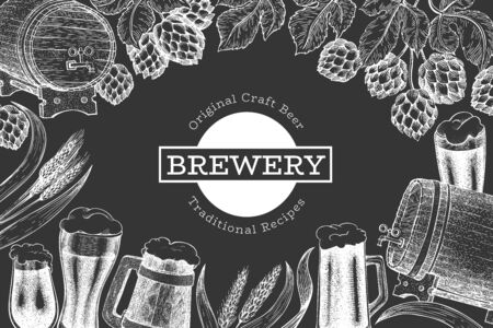 Beer and hop design template. Hand drawn vector brewery illustration on chalk board. Engraved style. Vintage brewing illustration.