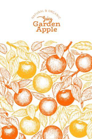 Apple branch design template. Hand drawn vector garden fruit illustration. Engraved style fruit vintage botanical banner.