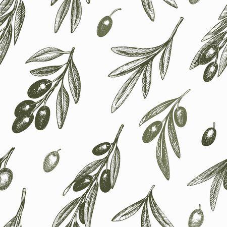 Olive branch seamless pattern. Hand drawn vector food illustration. Engraved style mediterranean plant background. Vintage botanical illustration. Çizim