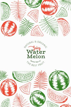 Watermelon and tropical leaves design template. Hand drawn vector exotic fruit illustration. Engraved style vintage botanical banner. Çizim