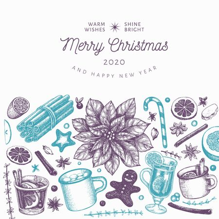 Winter drinks vector design template. Hand drawn engraved style mulled wine, hot chocolate, spices illustrations. Retro christmas background. Çizim