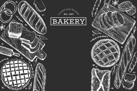 Bread and pastry banner. Vector bakery hand drawn illustration on chalk board. Retro design template.