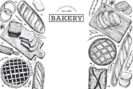 Bread and pastry banner. Vector bakery hand drawn illustration. Retro design template. Ilustrace