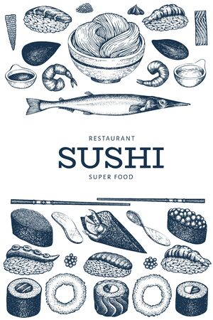 Japanese cuisine design template. Sushi hand drawn vector illustrations. Vintage style sian food background. 写真素材 - 134466769