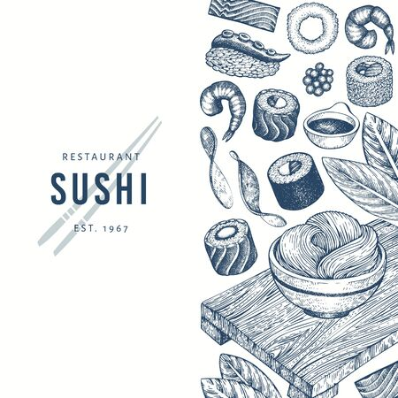 Japanese cuisine design template. Sushi hand drawn vector illustrations. Vintage style sian food background. 写真素材 - 134466774