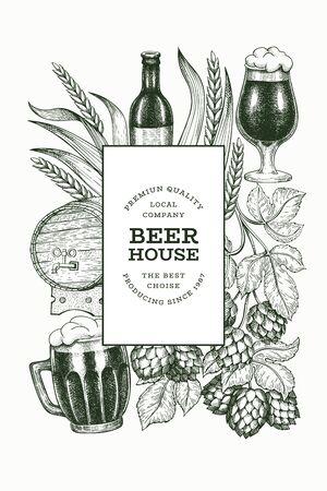 Beer glass mug and hop design template. Hand drawn vector pub beverage illustration. Engraved style. Vintage brewery illustration. Vecteurs