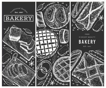 Bread and pastry banners set. Vector bakery hand drawn illustration on chalk board. Retro design template. Ilustrace