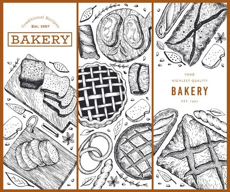 Bread and pastry banners set. Vector bakery hand drawn illustration. Retro design template.