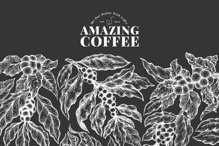 Coffee vector design template. Retro coffee background. Hand drawn engraved style illustration on chalk board.