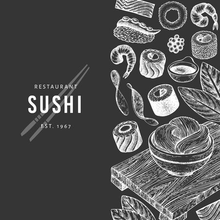 Japanese cuisine design template. Sushi hand drawn vector illustration on chalk board. Vintage style sian food background. 写真素材 - 134466932