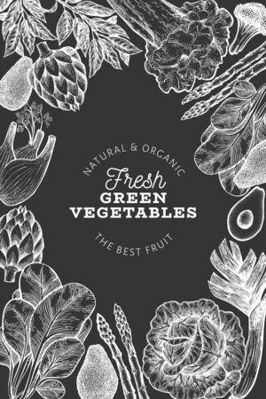 Green vegetable design template. Hand drawn vector food illustration on chalk board. Engraved style vegetable banner. Vintage botanical banner.
