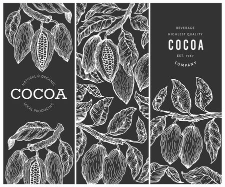 Cocoa banners set. Chocolate cocoa beans background. Vector hand drawn illustration on chalk board. Retro style illustration.