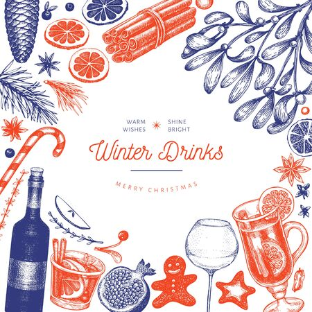Winter drinks vector design template. Hand drawn engraved style mulled wine, hot chocolate, spices illustrations. Retro christmas background. Ilustrace