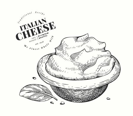 Italian mascarpone illustration. Hand drawn vector dairy illustration. Engraved style cream cheese. Retro food illustration.