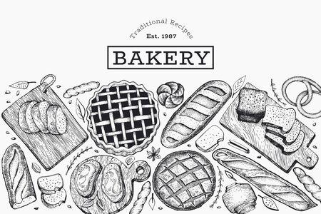 Bannière de pain et de pâtisserie. Illustration de vecteur boulangerie dessinés à la main. Modèle de conception rétro. Vecteurs
