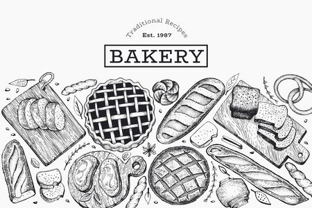 Bread and pastry banner. Vector bakery hand drawn illustration. Retro design template. Ilustração