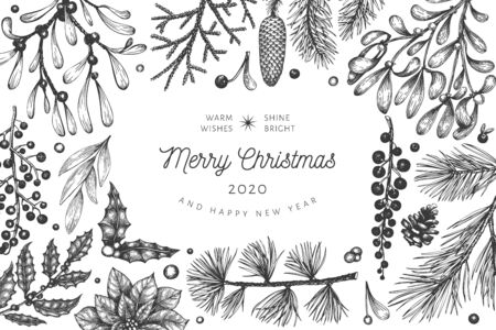 Christmas hand drawn vector greeting card template. Botanical design. Retro style illustration