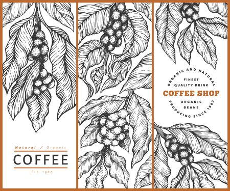 Set of coffee vector design template. Retro coffee background. Hand drawn engraved style illustration. Ilustração