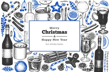 Winter drinks vector design template. Hand drawn engraved style mulled wine, hot chocolate, spices illustrations. Retro christmas background. Illustration