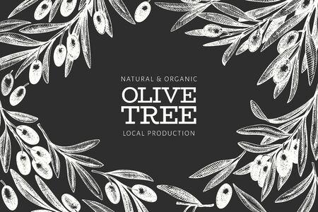 Olive branch design template. Hand drawn vector food illustration on chalk board. Engraved style mediterranean plant. Vintage botanical picture. Illusztráció