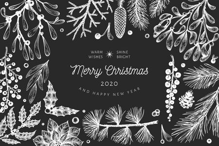 Christmas hand drawn vector greeting card template. Botanical design. Retro style illustration on chalk board Ilustrace