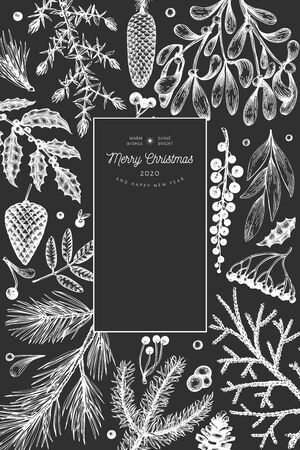 Christmas hand drawn vector greeting card template. Botanical design. Retro style illustration on chalk board