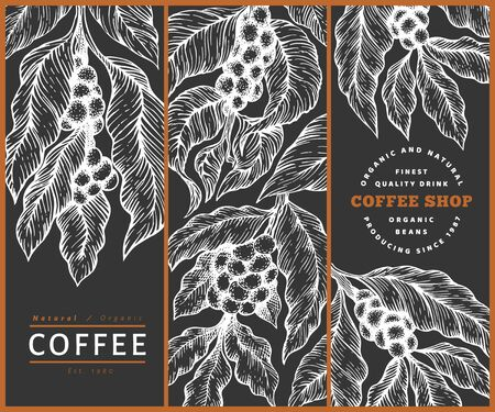 Set of coffee vector design templates. Retro coffee background. Hand drawn engraved style illustration on chalk board.