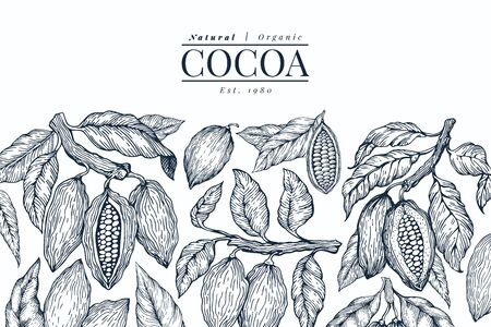 Cocoa design template. Chocolate cocoa beans background. Vector hand drawn illustration. Retro style illustration.