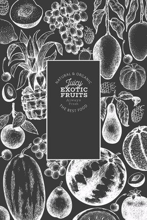 Fruits and berries design template. Hand drawn vector tropic fruits illustration on chalk board. Engraved style fruit. Vintage exotic food banner.