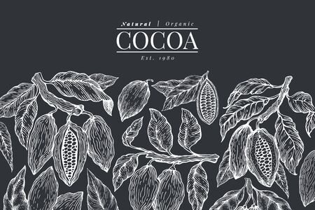 Cocoa design template. Chocolate cocoa beans background. Vector hand drawn illustration on chalk board. Retro style illustration. Ilustrace