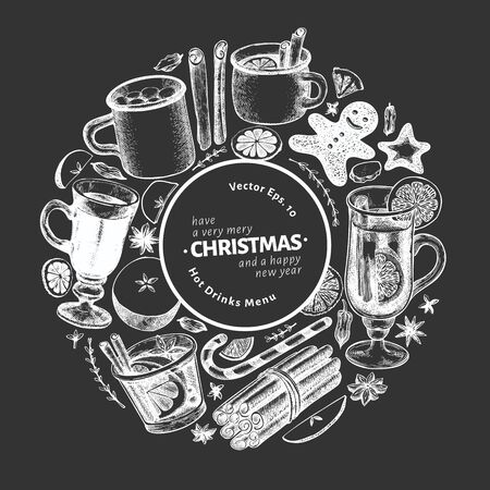 Winter drinks vector design template. Hand drawn engraved style mulled wine, hot chocolate, spices illustrations on chalk board. Retro christmas background.