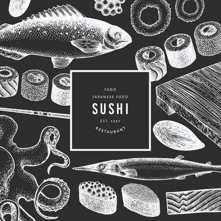 Japanese cuisine design template. Sushi hand drawn vector illustration on chalk board. Vintage style Asian food background. 向量圖像