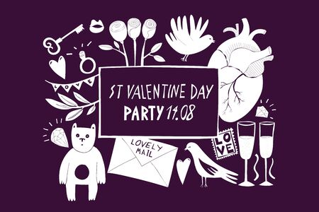 St Valentine Day banner template. Vector hand drawn illustrations on dark background. Design with Valentines Day symbols. Can be used as flyer, cover or invitation