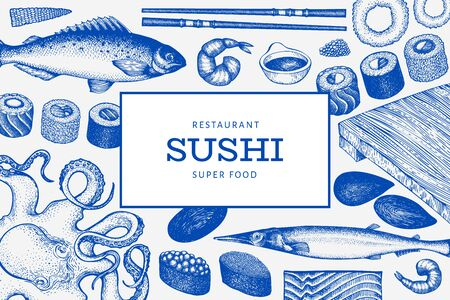 Japanese cuisine design template. Sushi hand drawn vector illustrations. Vintage style Asian food background.