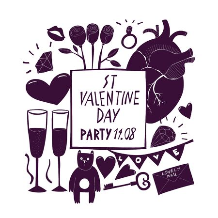 St Valentine Day banner template. Vector hand drawn illustrations. Design with Valentines Day symbols. Can be used as flyer, cover or invitation Ilustração