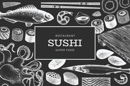 Japanese cuisine design template. Sushi hand drawn vector illustration on chalk board. Vintage style Asian food background. Ilustração