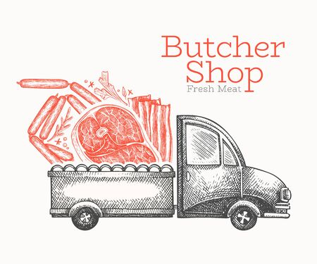 Butcher shop delivery logo template. Hand drawn vector truck with meat illustration. Engraved style vintage food design.