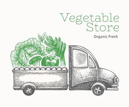 Green vegetables shop delivery logo template. Hand drawn vector truck with vegetables illustration. Engraved style vintage food design.