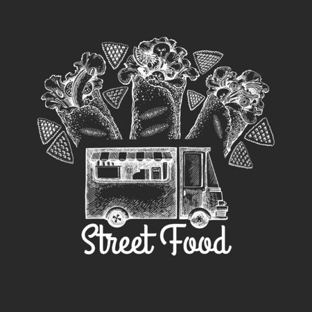 Street food van logo template. Hand drawn vector truck with fast food illustration on chalk board. Engraved style burrito truck vintage design.