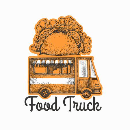 Street food van logo template. Hand drawn vector truck with fast food illustration. Engraved style tacos truck vintage design. Ilustração