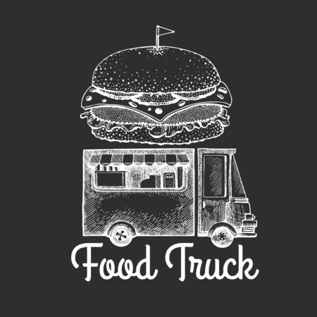 Street food burger van logo template. Hand drawn vector truck with fast food illustration on chalk board. Engraved style hamburger truck vintage design. Ilustração