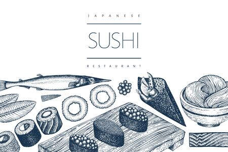 Japanese cuisine design template. Sushi hand drawn vector illustrations. Vintage style sian food background. 向量圖像
