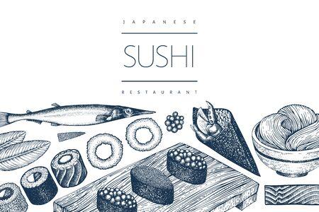 Japanese cuisine design template. Sushi hand drawn vector illustrations. Vintage style sian food background. Ilustração