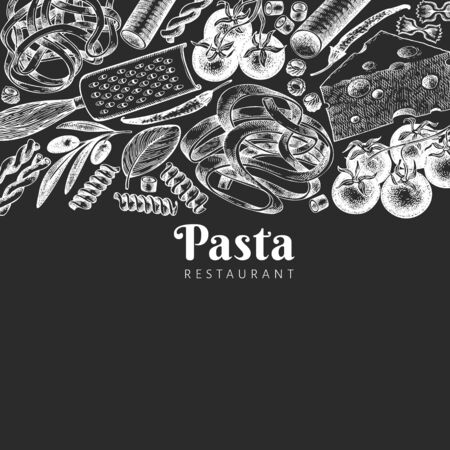 Italian pasta with addition design template. Hand drawn vector food illustration on chalk board. Engraved style. Retro pasta different kinds background.