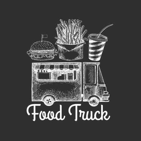 Street food van logo template. Hand drawn vector truck with fast food illustration on chalk board. Engraved style vintage design.