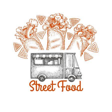 Street food van logo template. Hand drawn vector truck with fast food illustration. Engraved style burrito truck vintage design. Ilustração